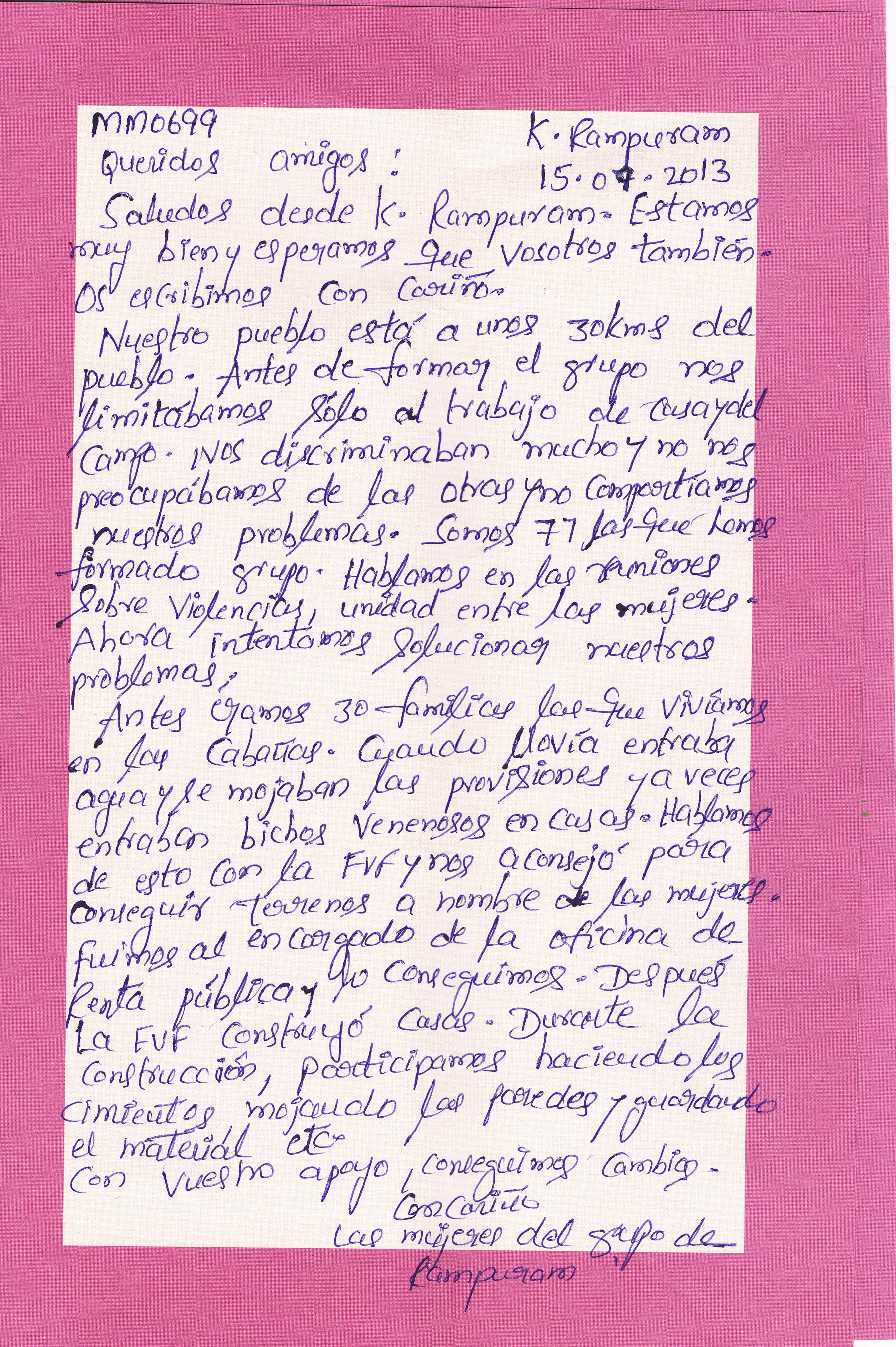 Carta del Shangam de mujeres de K. Rampuran