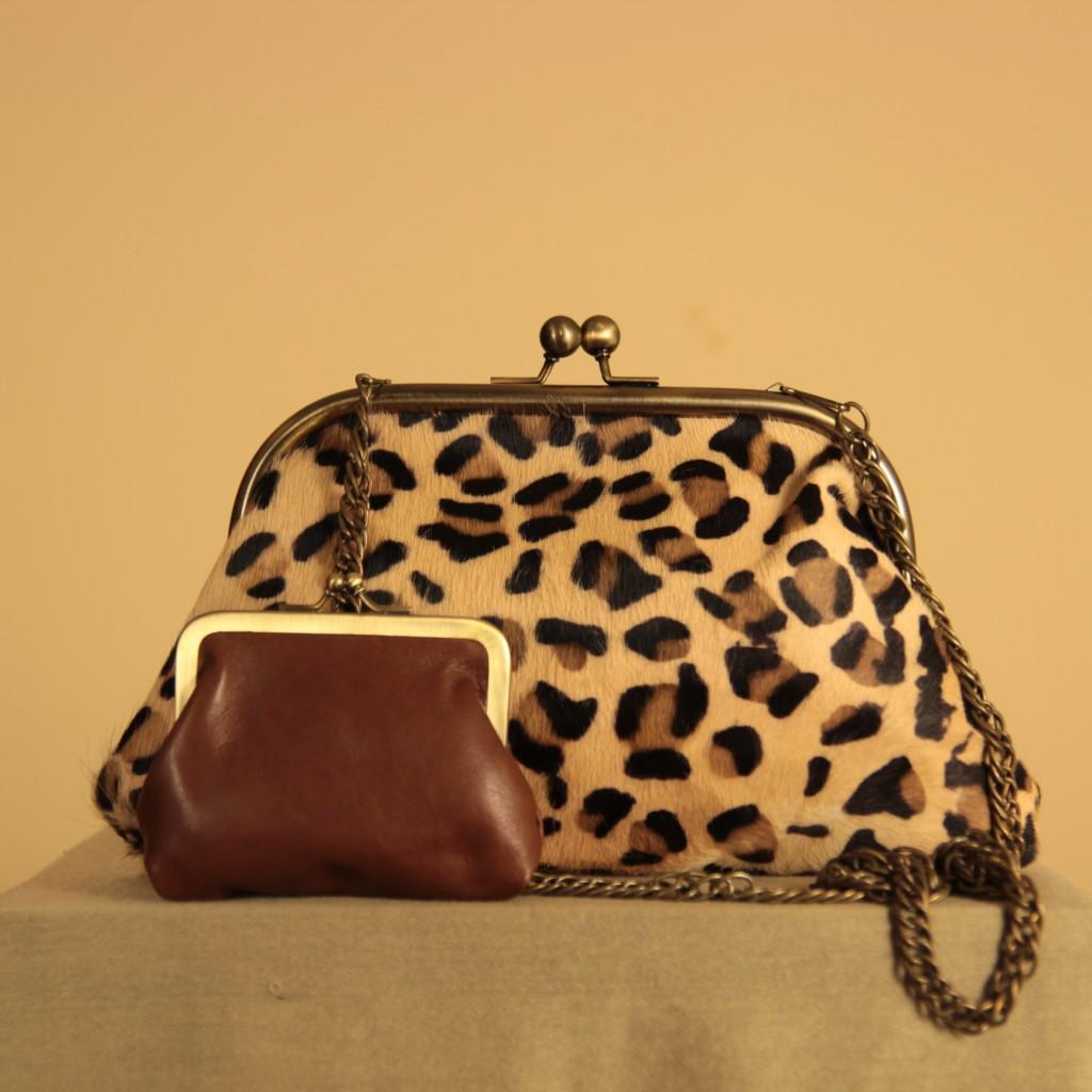 Bolso de piel de pelo animal print leopardo