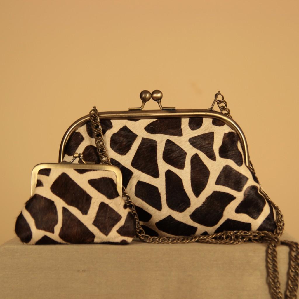 Bolso de piel de pelo animal print jirafa