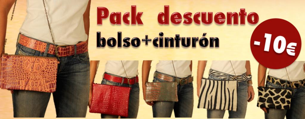 Pack descuento bolso animal print mas cinturón